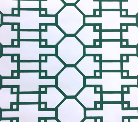 Quadrille Wallpaper: Brighton - Custom Rainforest Green on White Paper