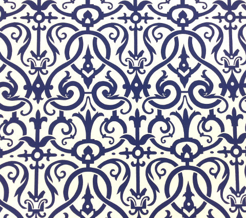 Quadrille Wallpaper: Charleston II - Custom Blue on White Paper