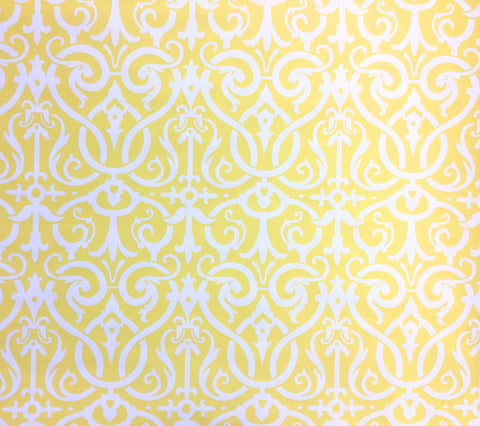 Quadrille Wallpaper: Charleston II Reverse - Custom Yellow on White Paper
