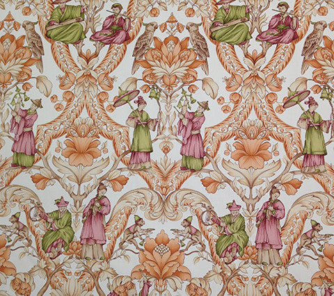 Quadrille Prints: Turandot - Copper peach Moss green toile chinoiserie asian print on Beige 100% Cotton sateen hand-printed fabric; Imported from Italy
