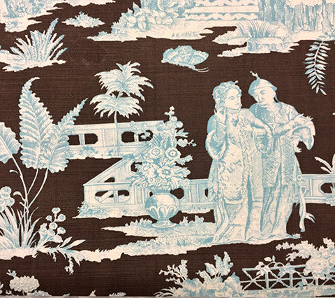 Quadrille Prints: Paradise Garden - Custom Turquoise / Brown on Tinted Belgian Linen/Cotton