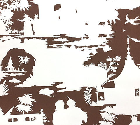 Quadrille Wallpaper: Paradise Background - Custom Brown on Off White Paper