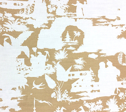 Quadrille Fabric: Paradise Background - Custom Camel II on White Belgian 100% Linen