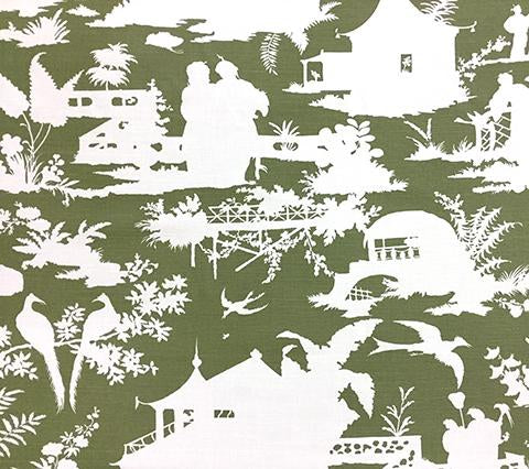 Quadrille Fabric: Paradise Background - Custom Olive Green on White Belgian Linen/Cotton