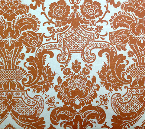 Quadrille Fabric: Este - Custom Salmon on White Suncloth