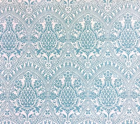 Quadrille Prints: Pina - Custom Dark Turquoise on White 100% Belgian Linen