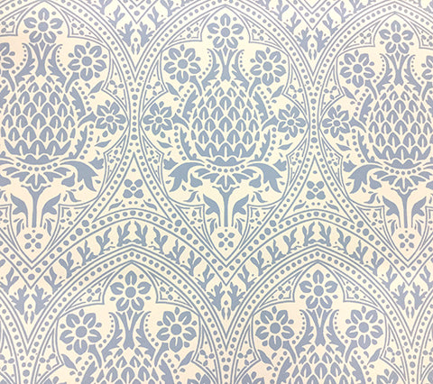 Quadrille Wallpaper: Pina - Custom Soft Windsor Blue on Off White Paper