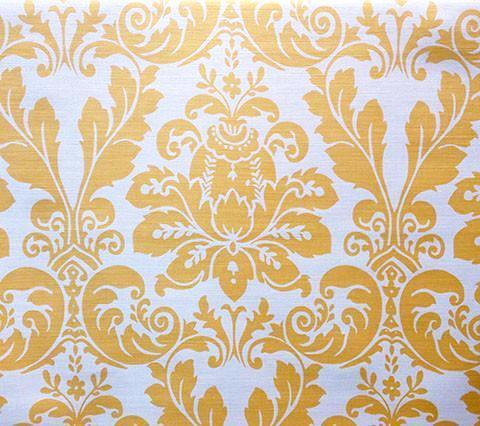 Quadrille Prints: Monty II Custom Maize gold yellow damask fortuny floral print on Tinted Belgian Linen/Cotton fabric