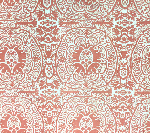 Quadrille Fabric: Veneto - Custom Terracotta on White Belgian Linen/Cotton