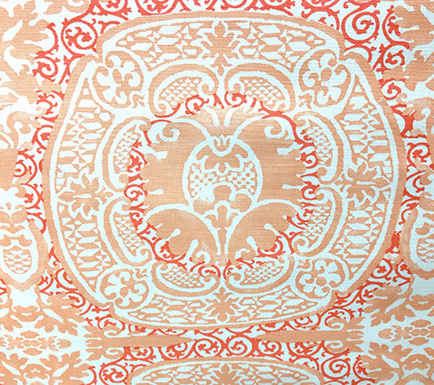 Quadrille Prints: Veneto - Custom Coral / Peach on White