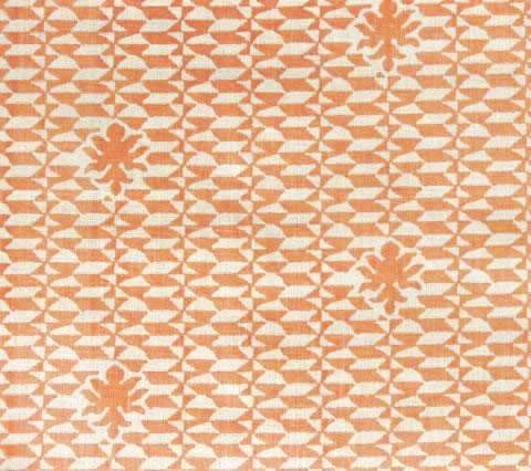 Quadrille Prints: Carlo II - Terracotta on Tinted 100% Curtain Weight Linen