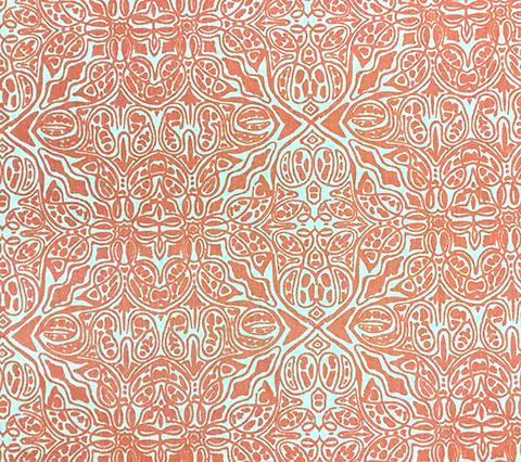 Quadrille Prints: San Michele - Custom Rosso on Ecru 100% Linen