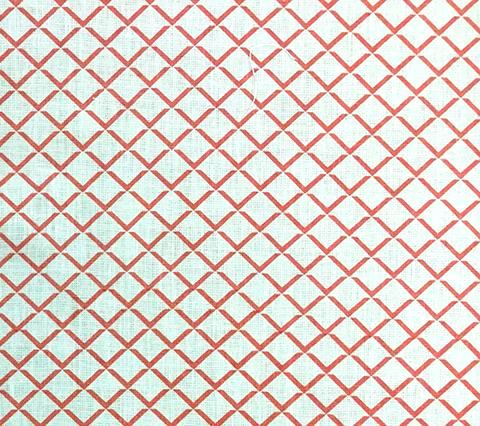 Quadrille Prints: Terrace - Custom Coral geometric diamond trellis print on Tinted 100% Belgian Linen