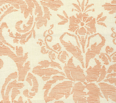 Quadrille Fabric: Victoria - Custom Apricot on Tinted 100% Belgian Linen