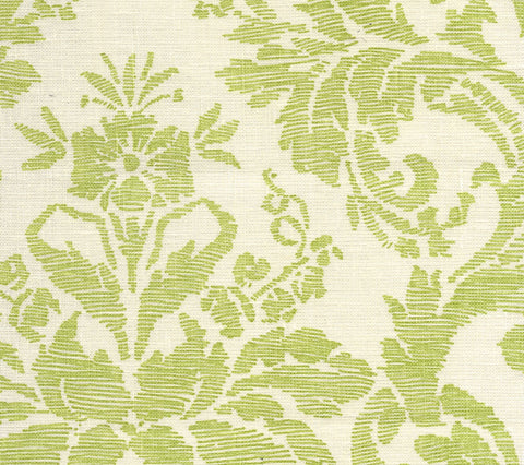 Quadrille Fabric: Victoria - Custom Green on Tinted 100% Belgian Linen