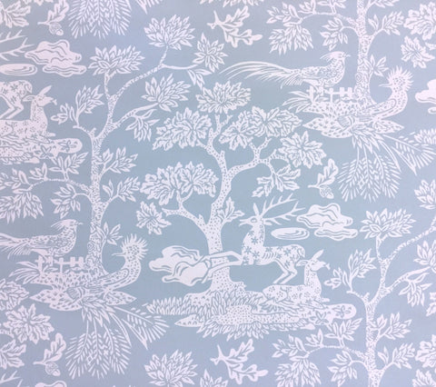 Quadrille Wallpaper: Magic Garden Reverse - Custom Windsor Blue on White Paper
