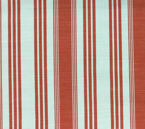 Quadrille Fabric: Lane Stripe  - Custom Coral on Tinted Belgian Linen/Cotton DETAIL