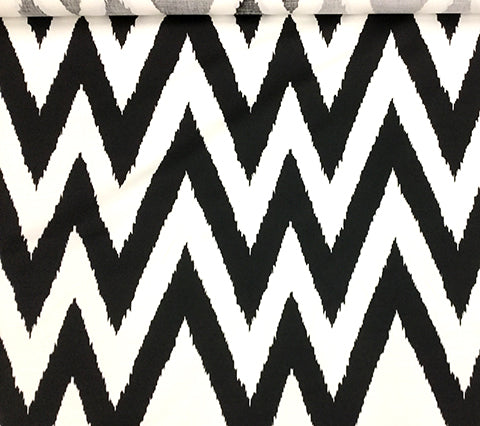 Quadrille Fabric: Tashkent I - Custom Black on White Belgian Linen/Cotton