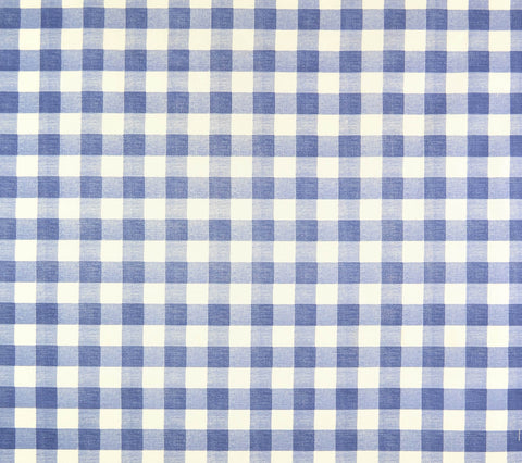Quadrille Fabric: Hingham Plaid - Custom Light Navy on Tinted Belgian Linen/Cotton