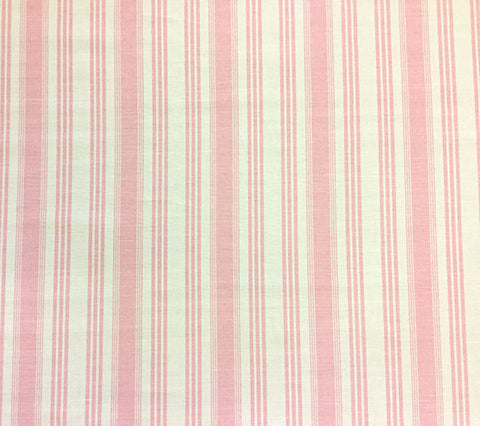 Quadrille Prints: Lane Stripe  - Custom Pink on Tinted Belgian Linen/Cotton