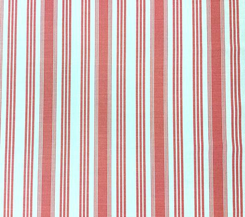 Quadrille Prints: Lane Stripe  - Custom Watermelon on White Belgian Linen/Cotton