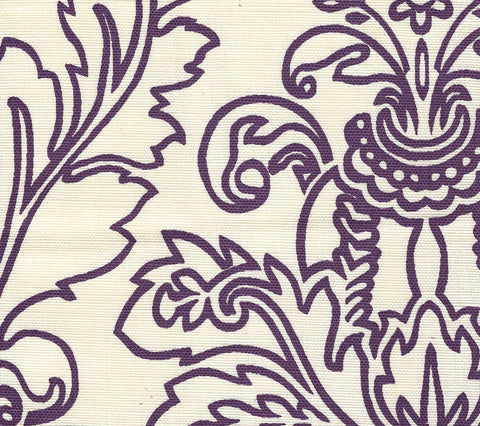 Quadrille Fabric: Monty Outline - Custom Purple on Tinted Belgian Linen/Cotton