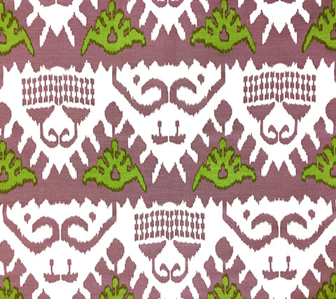 Quadrille Prints: Kazak - Custom Purple / Green on White Belgian Linen/Cotton
