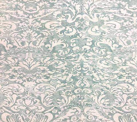 Quadrille Fabric: Bromonte Reverse - Custom Green on Tinted 100% Belgian Linen