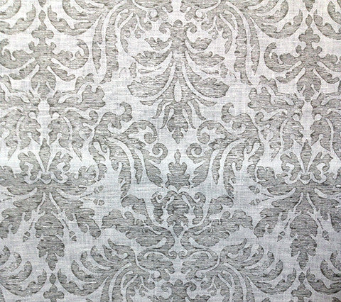 Quadrille Prints: Sevilla Damask - Custom Gray on White 100% Linen
