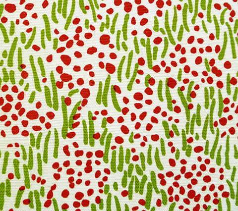 China Seas Fabric: Trilby - Custom Jungle Green / Tomato on Belgian Linen/Cotton