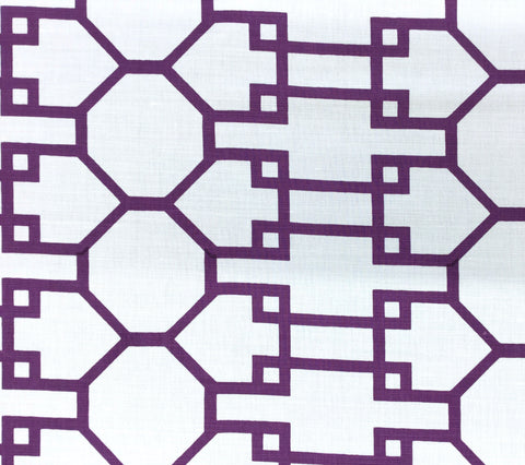 Quadrille Fabric: Brighton - Custom Purple on White Belgian Linen/Cotton