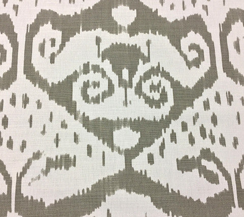 Quadrille Prints: Malaya - Custom Gray on White Belgian Linen/Cotton