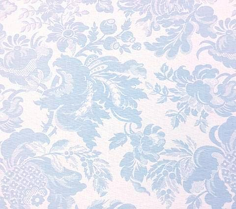 Quadrille Prints: Des Gardes - Custom Soft Windsor Blue on Tinted Belgian Linen/Cotton