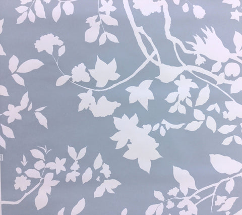 Quadrille Wallpaper: Happy Garden Background - Custom Heather Blue on White Paper