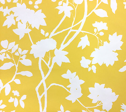Quadrille Wallpaper: Happy Garden Background - Custom Inca Gold on Almost White Paper