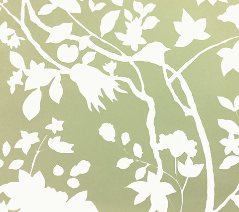 Quadrille Wallpaper: Happy Garden Background - Custom Green on White Paper