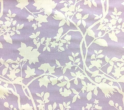 Quadrille Prints: Happy Garden Background - Custom Lavender on Tinted Belgian Linen/Cotton
