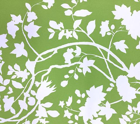 Quadrille Wallpaper: Happy Garden Background - Custom Jungle Green on White Paper
