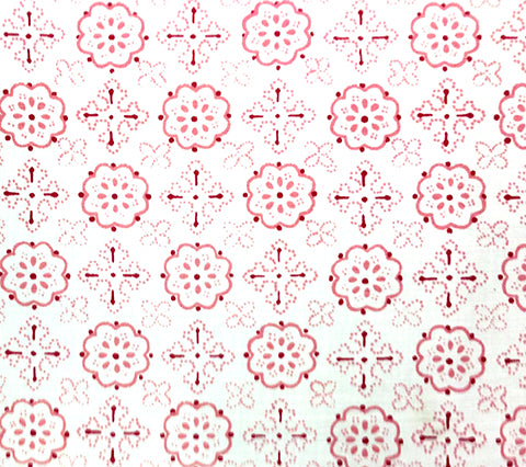 Quadrille Prints: Crawford - Custom Multi Pink / Orange on White Belgian Linen/Cotton