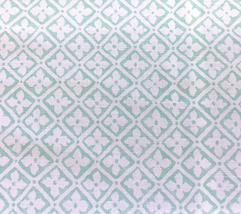 Quadrille Fabric: Puccini - Custom Aqua on White Belgian Linen/Cotton