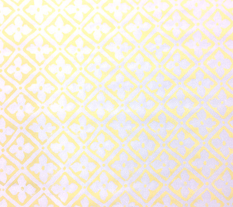 Quadrille Prints: Puccini - Custom Pale Yellow on White 100% Silk
