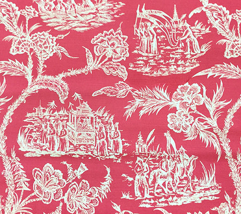 Quadrille Prints: Royal Journey Reverse II - Custom Magenta on Tinted Belgian Linen/Cotton