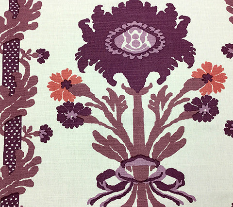 Quadrille Prints: Henriot Floral - Custom Lilacs on White Belgian Linen/Cotton