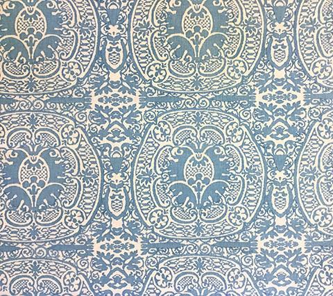 Quadrille Prints: Veneto - Custom Dark Denim Blue damask fortuny print on Tinted Belgian Linen/Cotton fabric