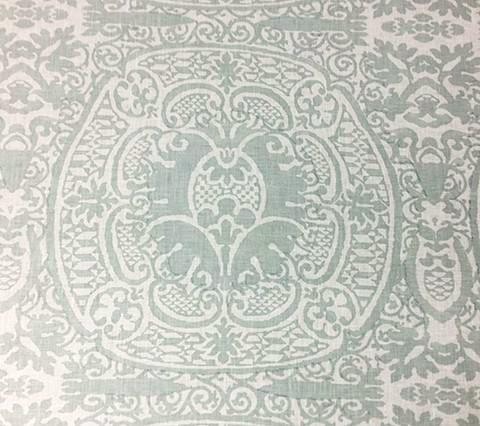 Quadrille Prints: Veneto - Custom Light French Green on Tinted Belgian Linen/Cotton