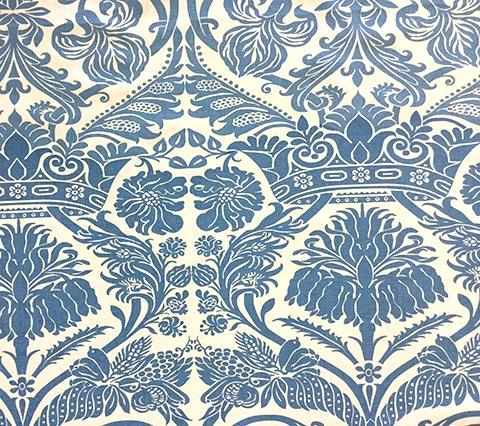 Quadrille Prints: Corinthe Damask - Custom Windsor Blue large scale damask print with flowers and crowns on Ecru 100% Belgian Linen