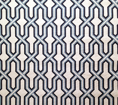 China Seas Fabric: Gorrivan Fretwork - Custom Navy / Periwinkle on White Belgian Linen/Cotton