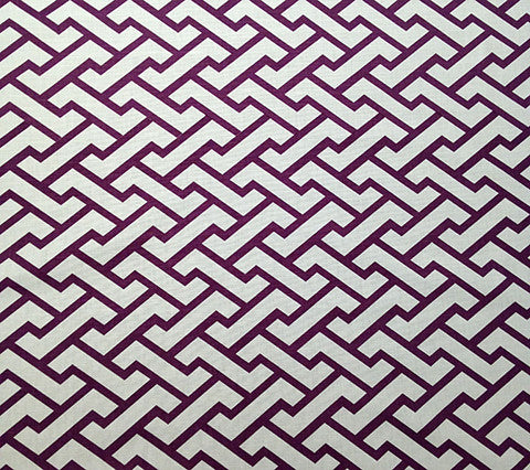 China Seas Fabric Aga Custom Purple on White Belgian Linen Cotton Geometric