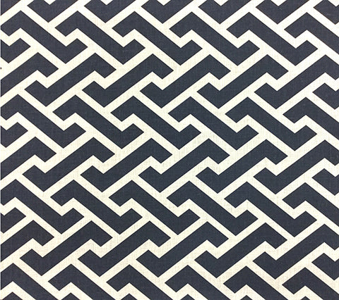 China Seas Fabric: Aga Reverse - Custom Naval Blue bold geometric print on White 100% Belgian Linen