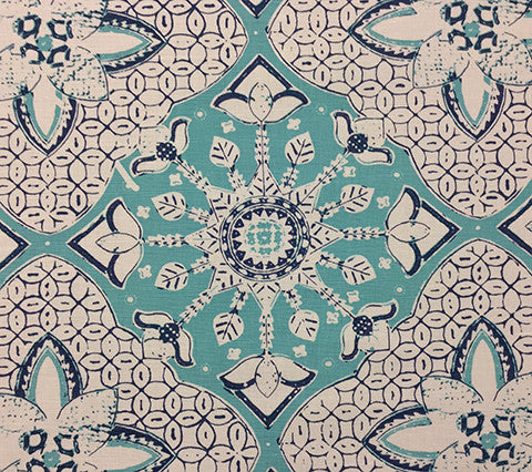 China Seas Fabric: New Batik - Custom Turquoise / New Navy on White Belgian Linen/Cotton